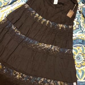 NWT black maxi skirt with sheer/lace panels